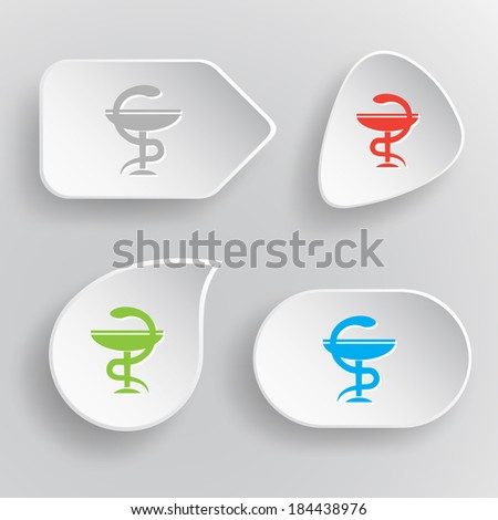 Pharma symbol. White flat vector buttons on gray background. - stock vector