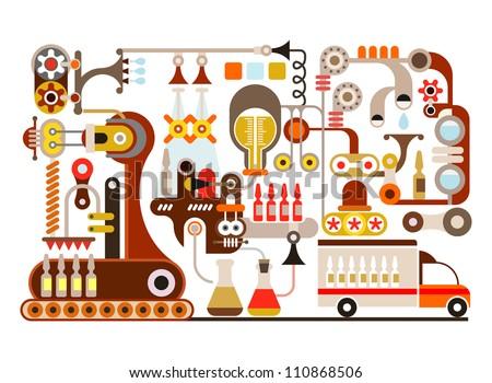 Pharmaceutical factory - vector illustration on white background. - stock vector