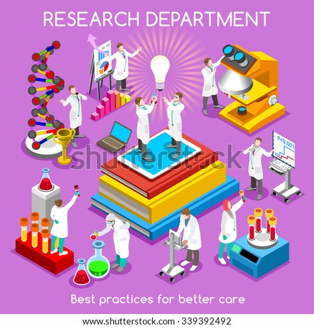 Pharmaceuticals Research Infographic. Pharmaceutical Trials. Clinic Research Laboratory Symbols. Clinic Medical Biotech Laboratory. 3D Flat Isometric People Drug Molecule Development Vector Image. - stock vector