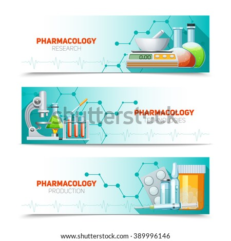 Pharmacology scientific research technologies and production 3  horizontal banners set with molecule structure abstract isolated illustration vector