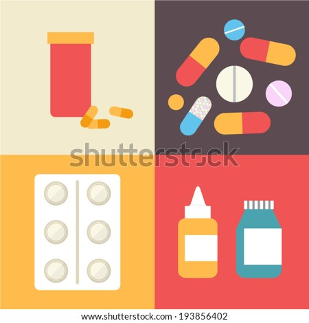 Pharmacy icons set, pills and capsules. Healthcare vector illustration made in flat design. - stock vector