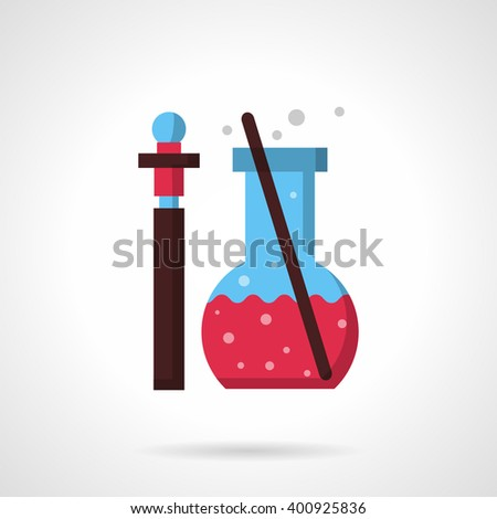Pharmacy laboratory glass. Thin bottle with sample of medicine or reactive and flask with pink liquid and stick.  Flat color style vector icon. Web design element for site, mobile and business. - stock vector