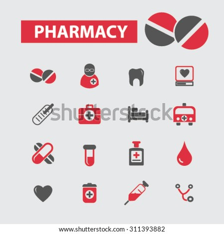 pharmacy, medical icons set, vector