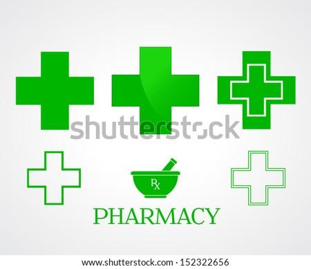Pharmacy symbols on white - vector - stock vector