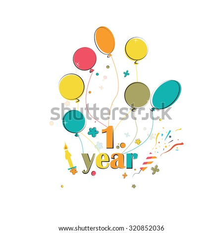 Phase happy birthday with balloons on the white background - stock vector
