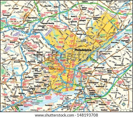 philadelphia pennsylvania area map stock vector