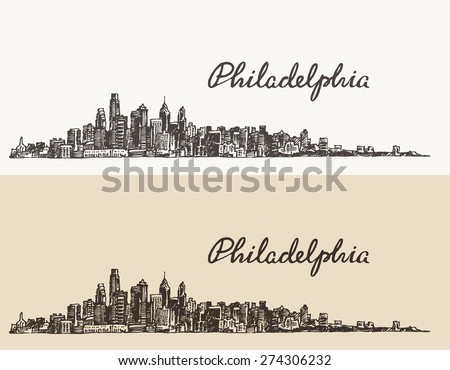 Philadelphia skyline, big city architecture, vintage engraved vector illustration, hand drawn, sketch. - stock vector