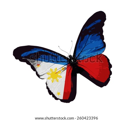 Philippine flag butterfly, isolated on white - stock vector