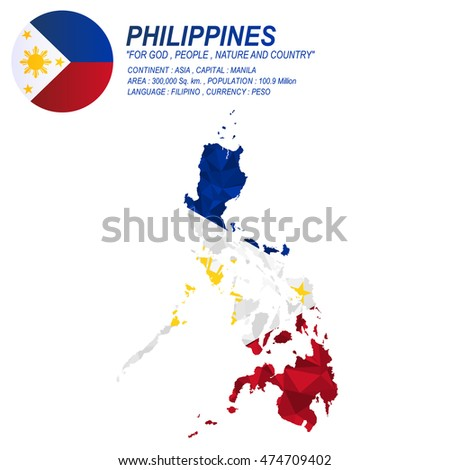 Philippine flag overlay on Philippine map with polygonal style.(EPS10 art vector)