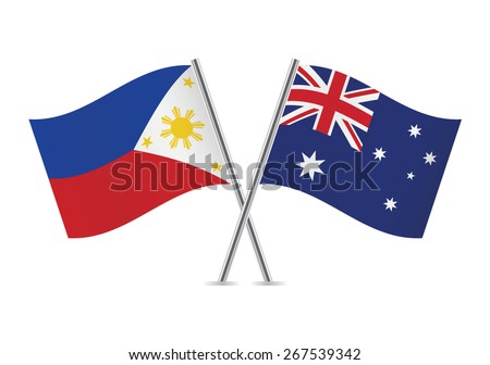 Philippines and Australian flags. Vector illustration. - stock vector