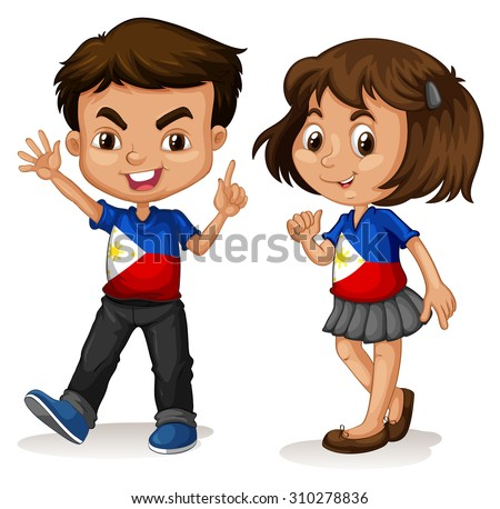 Philippines boy and girl greeting illustration - stock vector