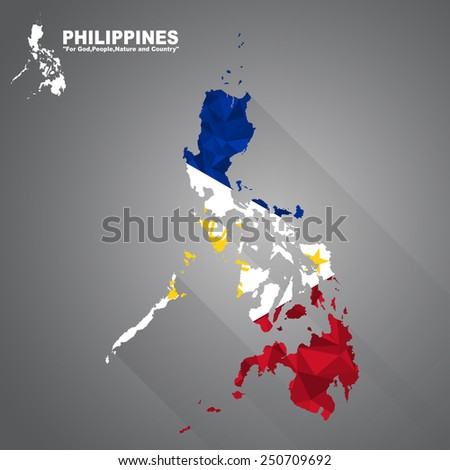 Philippines flag overlay on Philippines map with polygonal and long tail shadow style (EPS10 art vector) - stock vector