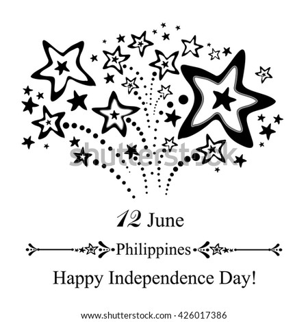 Philippines Independence Day Greeting Card. June 12.  Vector Illustration