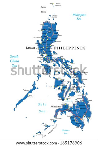 Philippines political map - stock vector