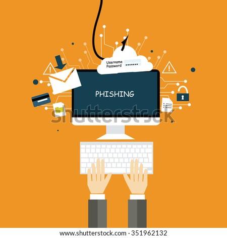 phishing crime network flat design - stock vector