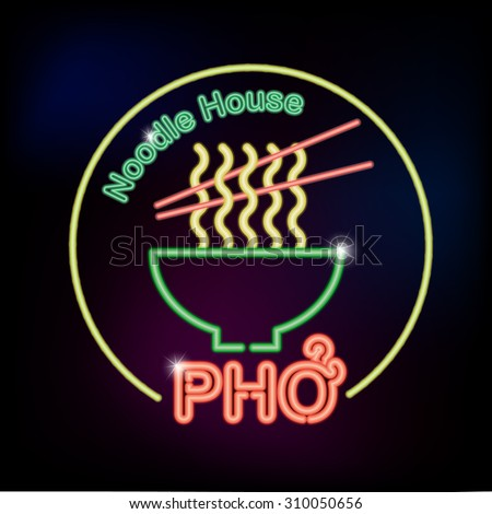 Pho noodle house neon sign with noodle and chopsticks