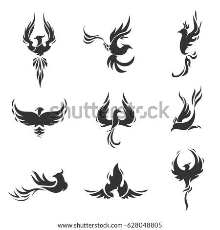 Phoenix Bird Stylized Silhouettes Icons On Stock Vector 628048805