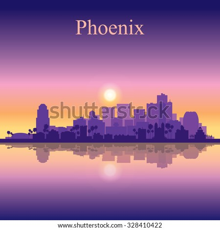 Phoenix city skyline silhouette background, vector illustration - stock vector