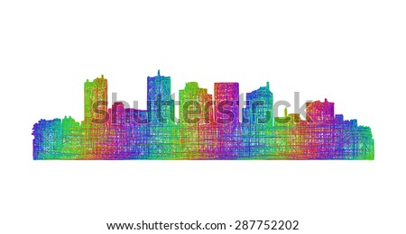 Phoenix city skyline silhouette - multicolor line art