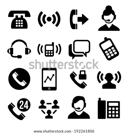 Phone and Call Center Icons Set - stock vector