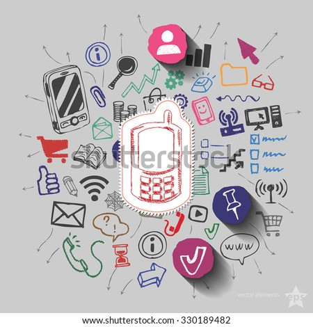 Phone and collage with web icons background. Vector illustration