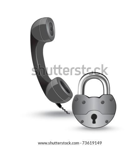phone and padlock - stock vector