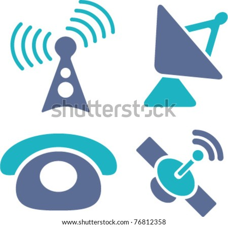 phone & antenna, satellite icons, signs, vector illustrations - stock vector