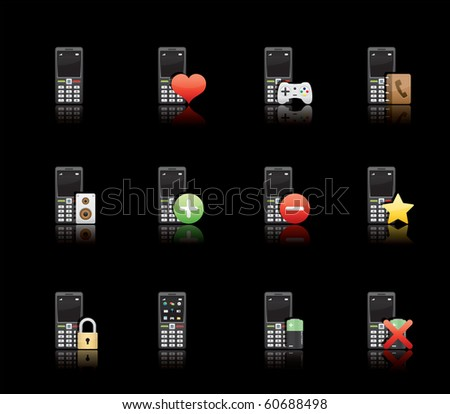 Phone Applications icon set 11 - Glossy Black Series.  Vector EPS 8 format, easy to edit. - stock vector