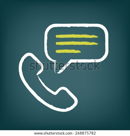 Phone call icon with speech bubble. Communication chalk style vector pictogram.
