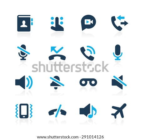 Phone Calls Interface Icons // Azure Series - stock vector