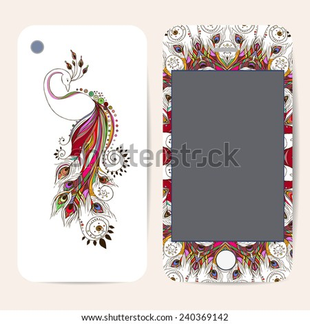 Phone case collection, delicate floral pattern. Vector Peacock. Vintage decorative elements, templates with lace ornament. Hand drawn background. Islam, arabic, indian, ottoman motifs. - stock vector