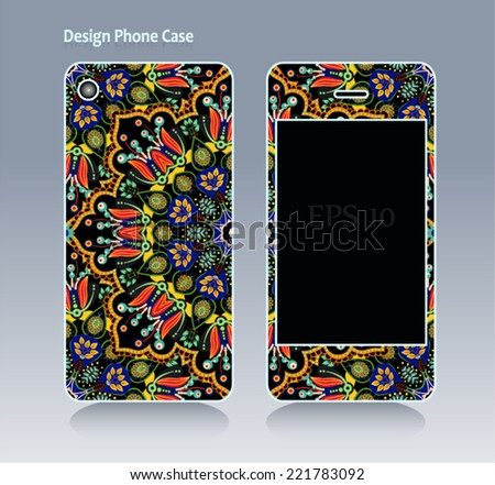 Phone case, colorful floral pattern. Vector background. Vintage decorative elements. African, Islam, arabic, indian, ottoman motifs.
