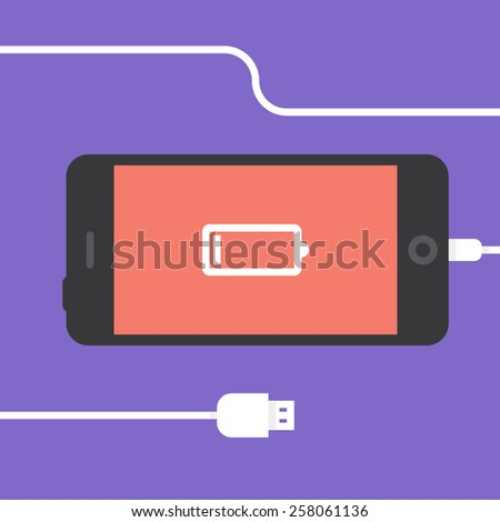 Phone charging, flat icon isolated on a purple. Concept background design - stock vector