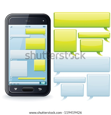Phone Chatting Template. Place Your Own Text to the Message Boxes. - stock vector
