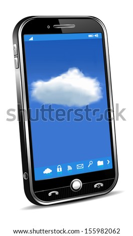 Phone Cloud Concept - Phone access for your files info - stock vector