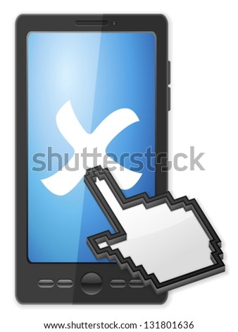 Phone, cursor and cancel symbol on a white background. - stock vector