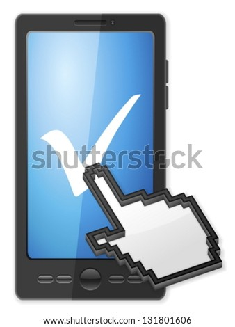 Phone, cursor and check symbol on a white background. - stock vector