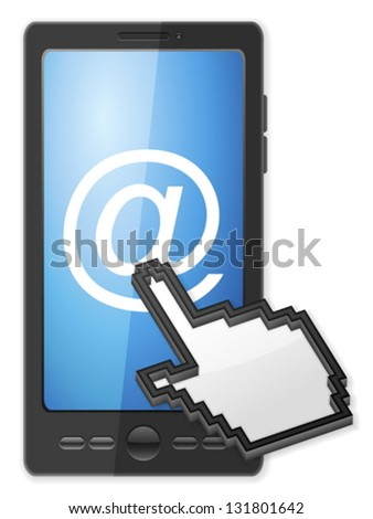 Phone, cursor and email symbol on a white background. - stock vector