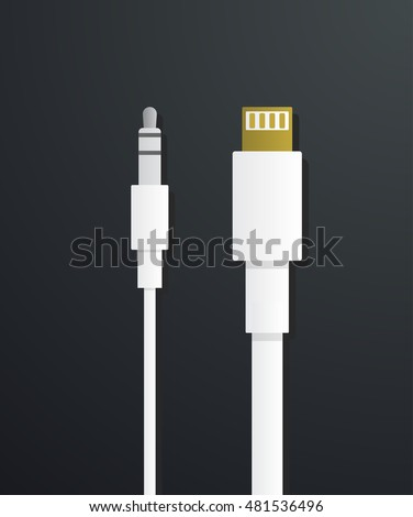 phone earphones jack and USB charger vector illustration