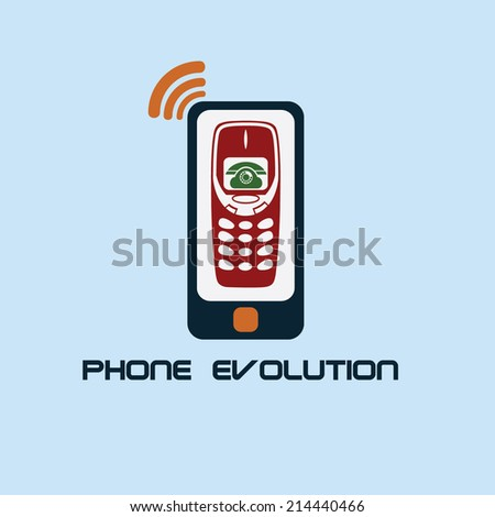 phone evolution flat design - stock vector