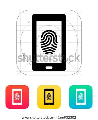 Phone fingerprint icon. Vector illustration. - stock vector