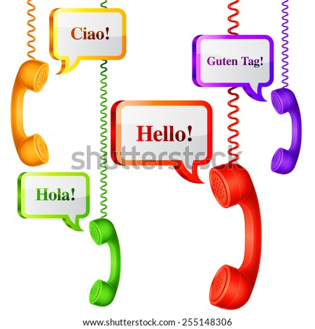 Phone handset with hello speech bubbles in different languages - stock vector