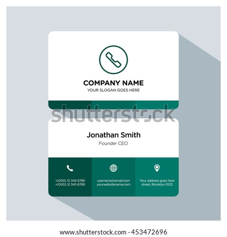 Phone icon. Business card template