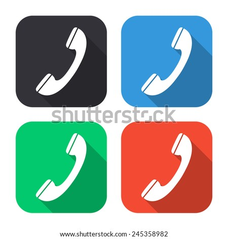 phone icon - colored illustration (gray, blue, green, red) with long shadow - stock vector