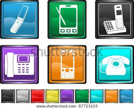 phone icon,each color set is set on a different layer - stock vector