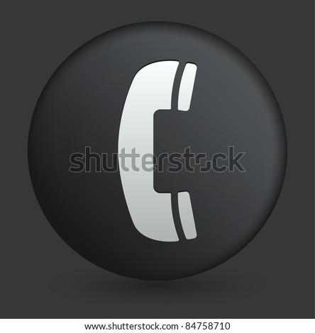 Phone Icon on Round Black Button Collection Original Illustration - stock vector