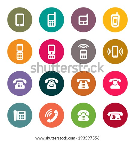 Phone icon set - stock vector