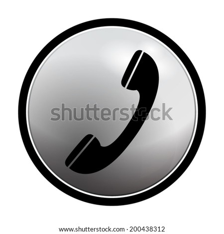 phone icon - vector round button on light background - stock vector
