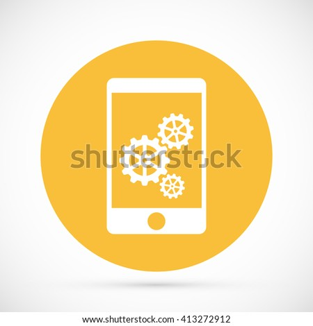Phone icon with settings - stock vector