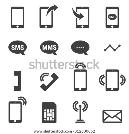 Phone icons on white background. Vector illustration.